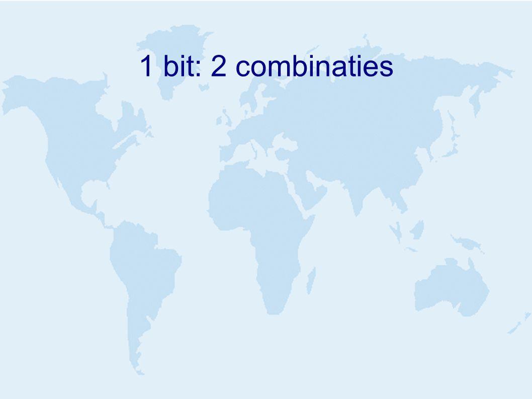 1 bit: 2 combinaties