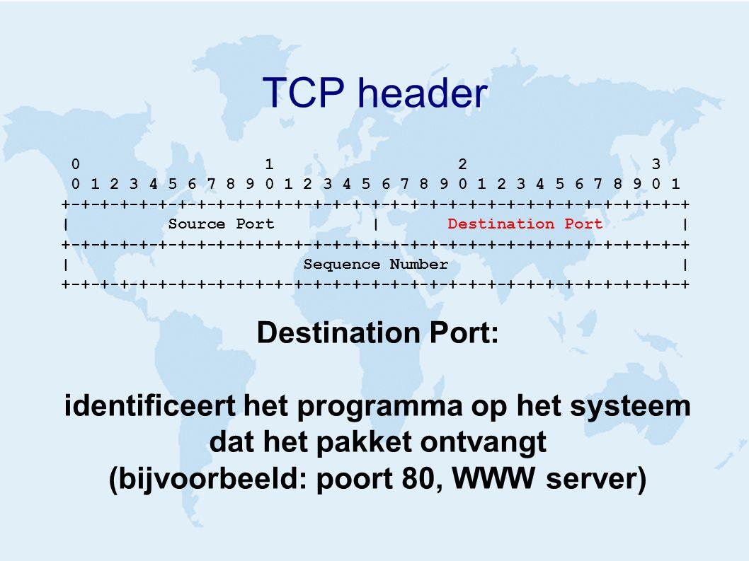 TCP header 0 1 2 3 0 1 2 3 4 5 6 7 8 9 0 1 2 3 4 5 6 7 8 9 0 1 2 3 4 5 6 7 8 9 0 1 +-+-+-+-+-+-+-+-+-+-+-+-+-+-+-+-+-+-+-+-+-+-+-+-+-+-+-+-+-+-+-+-+ | Source Port | Destination Port | +-+-+-+-+-+-+-+-+-+-+-+-+-+-+-+-+-+-+-+-+-+-+-+-+-+-+-+-+-+-+-+-+ | Sequence Number | +-+-+-+-+-+-+-+-+-+-+-+-+-+-+-+-+-+-+-+-+-+-+-+-+-+-+-+-+-+-+-+-+ Destination Port: identificeert het programma op het systeem dat het pakket ontvangt (bijvoorbeeld: poort 80, WWW server)