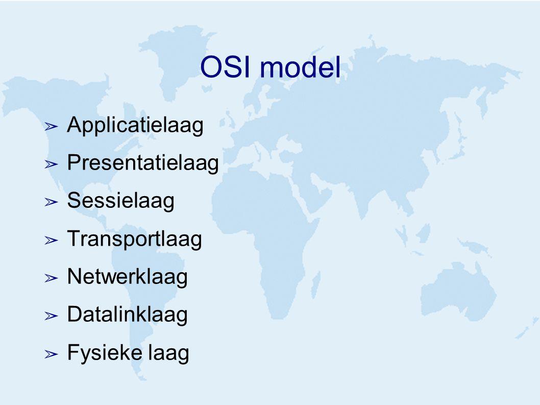 OSI model ➢ Applicatielaag ➢ Presentatielaag ➢ Sessielaag ➢ Transportlaag ➢ Netwerklaag ➢ Datalinklaag ➢ Fysieke laag