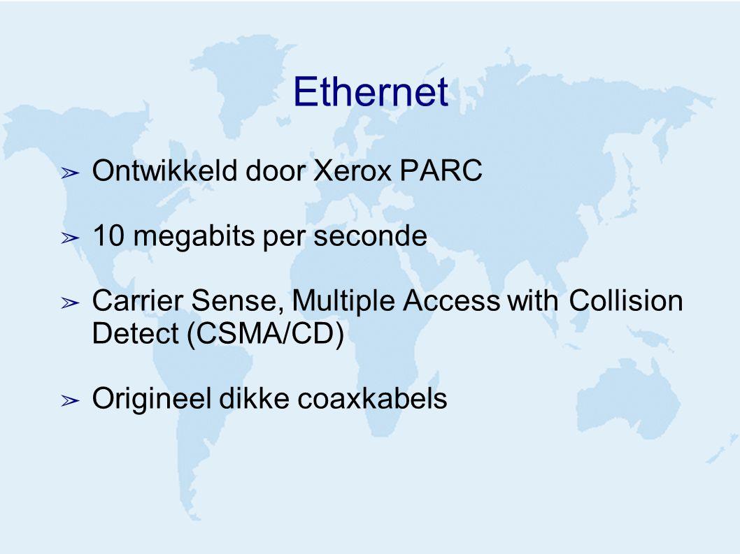 Ethernet ➢ Ontwikkeld door Xerox PARC ➢ 10 megabits per seconde ➢ Carrier Sense, Multiple Access with Collision Detect (CSMA/CD) ➢ Origineel dikke coa
