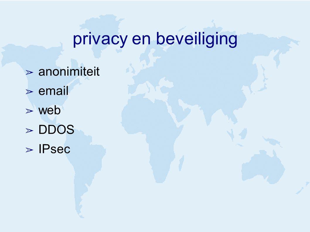 privacy en beveiliging ➢ anonimiteit ➢ email ➢ web ➢ DDOS ➢ IPsec