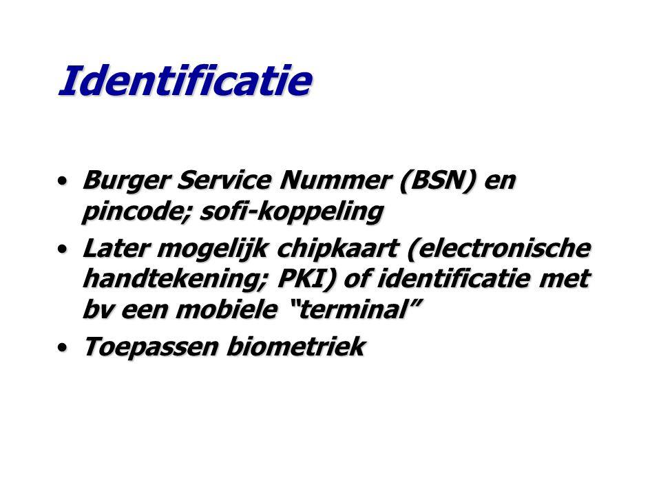 Burger Service Nummer (BSN) en pincode; sofi-koppelingBurger Service Nummer (BSN) en pincode; sofi-koppeling Later mogelijk chipkaart (electronische handtekening; PKI) of identificatie met bv een mobiele terminal Later mogelijk chipkaart (electronische handtekening; PKI) of identificatie met bv een mobiele terminal Toepassen biometriekToepassen biometriek Identificatie