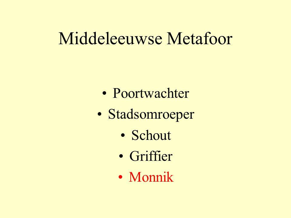 Middeleeuwse Metafoor Poortwachter Stadsomroeper Schout Griffier Monnik