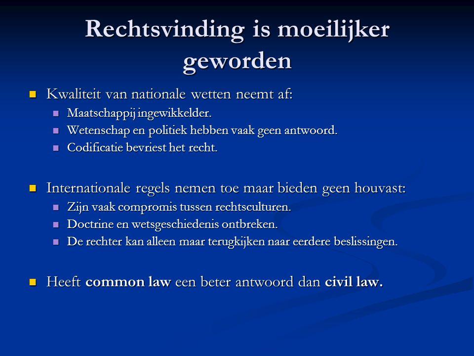 Rechtsvinding is moeilijker geworden Kwaliteit van nationale wetten neemt af: Kwaliteit van nationale wetten neemt af: Maatschappij ingewikkelder.