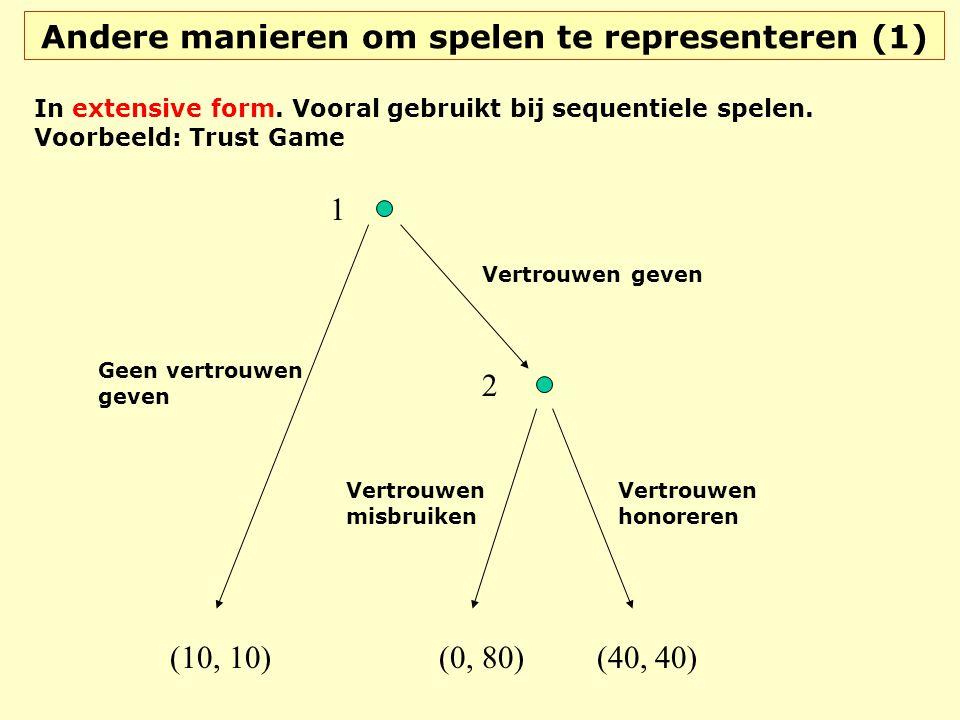 Andere manieren om spelen te representeren (1) In extensive form. Vooral gebruikt bij sequentiele spelen. Voorbeeld: Trust Game Vertrouwen geven Geen