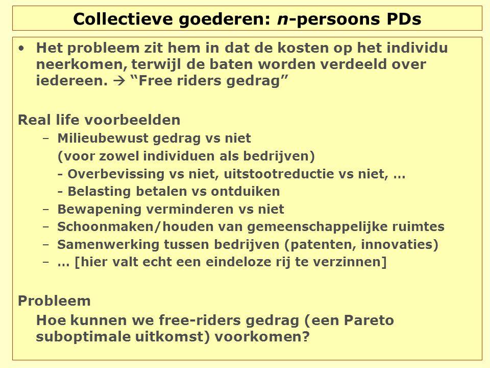 Collectieve goederen: n-persoons PDs Het probleem zit hem in dat de kosten op het individu neerkomen, terwijl de baten worden verdeeld over iedereen.