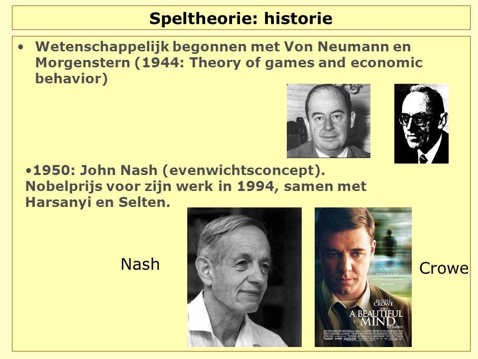 Speltheorie: historie Wetenschappelijk begonnen met Von Neumann en Morgenstern (1944: Theory of games and economic behavior) Nash Crowe 1950: John Nas