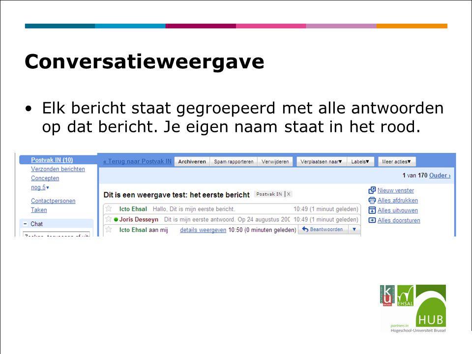 Conversatieweergave Elk bericht staat gegroepeerd met alle antwoorden op dat bericht.