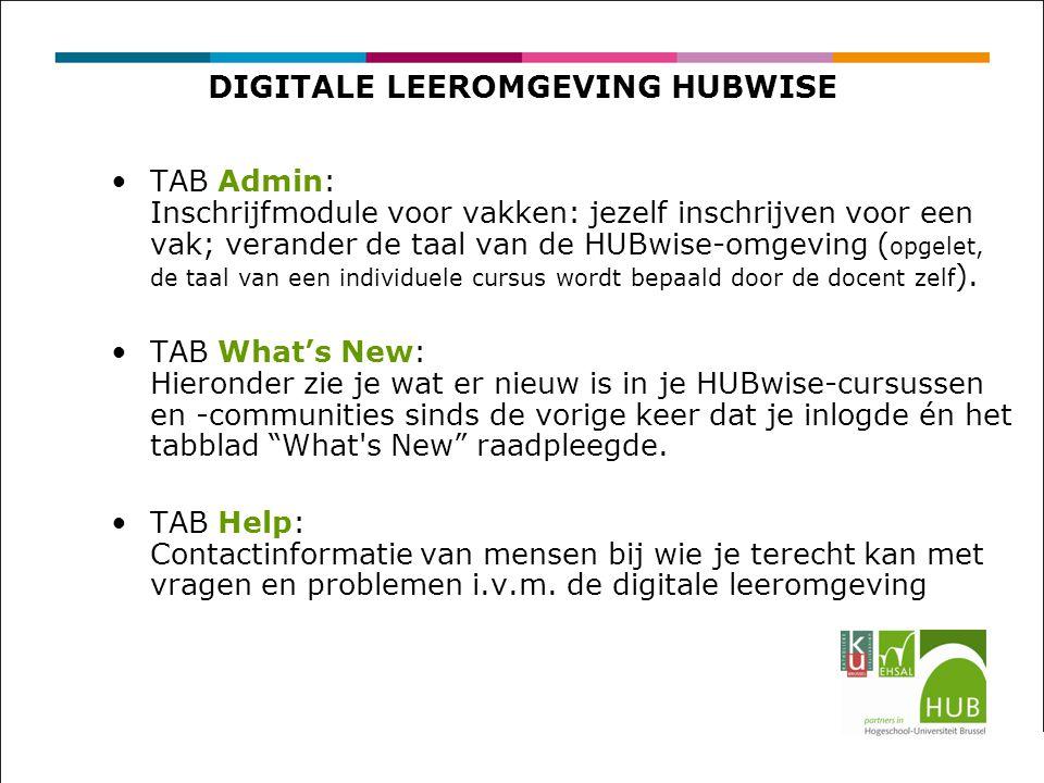 DIGITALE LEEROMGEVING HUBWISE TAB Admin: Inschrijfmodule voor vakken: jezelf inschrijven voor een vak; verander de taal van de HUBwise-omgeving ( opgelet, de taal van een individuele cursus wordt bepaald door de docent zelf ).