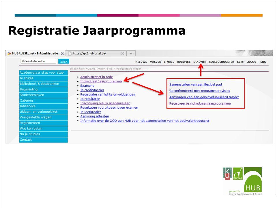 Registratie Jaarprogramma