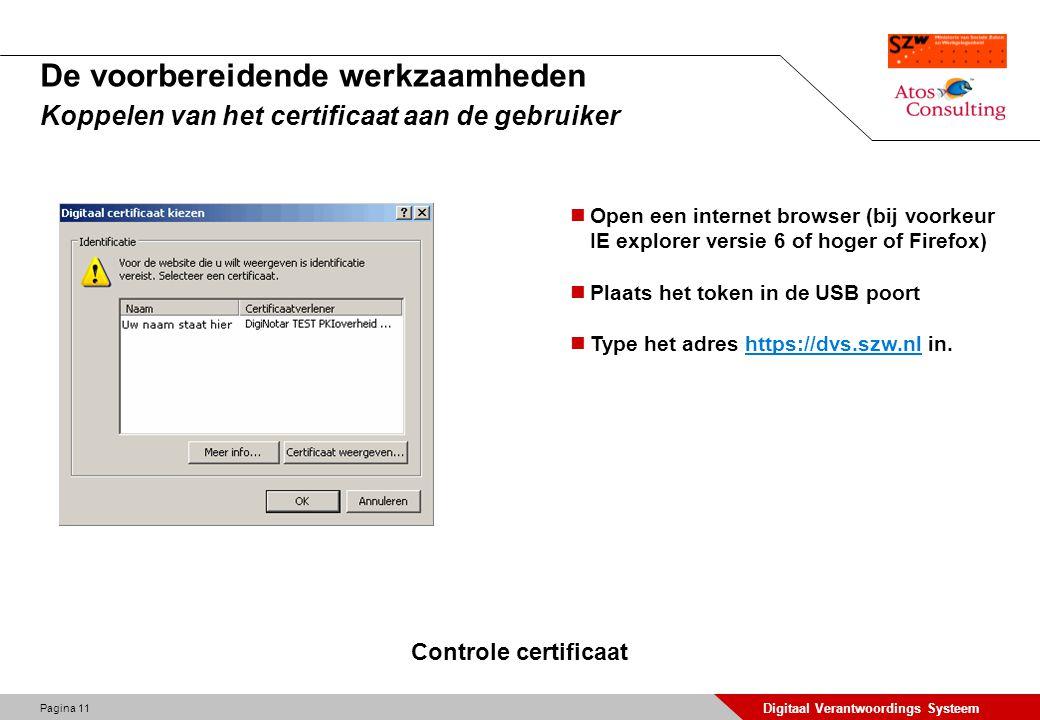 Pagina 12 Digitaal Verantwoordings Systeem De globale werking van het DVS Kiezen van een certificaat Vul in het scherm de door Diginotar verstrekte pincode in.