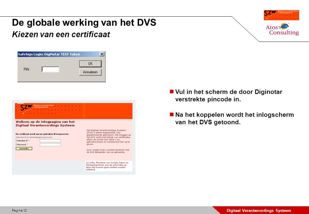 Pagina 12 Digitaal Verantwoordings Systeem De globale werking van het DVS Kiezen van een certificaat Vul in het scherm de door Diginotar verstrekte pi