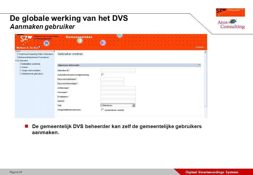 Pagina 17 Digitaal Verantwoordings Systeem De globale werking van het DVS Koppelen rol aan gebruiker De gemeentelijk DVS beheerder koppelt gebruikers aan rollen.