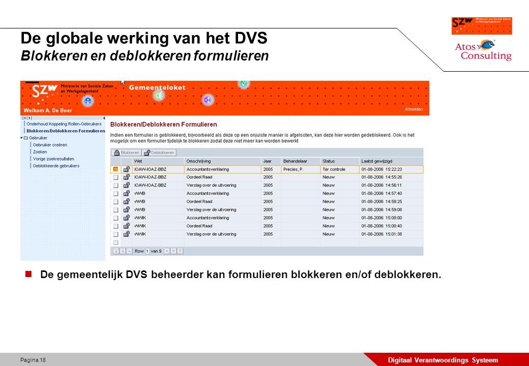 Pagina 18 Digitaal Verantwoordings Systeem De globale werking van het DVS Blokkeren en deblokkeren formulieren De gemeentelijk DVS beheerder kan formu
