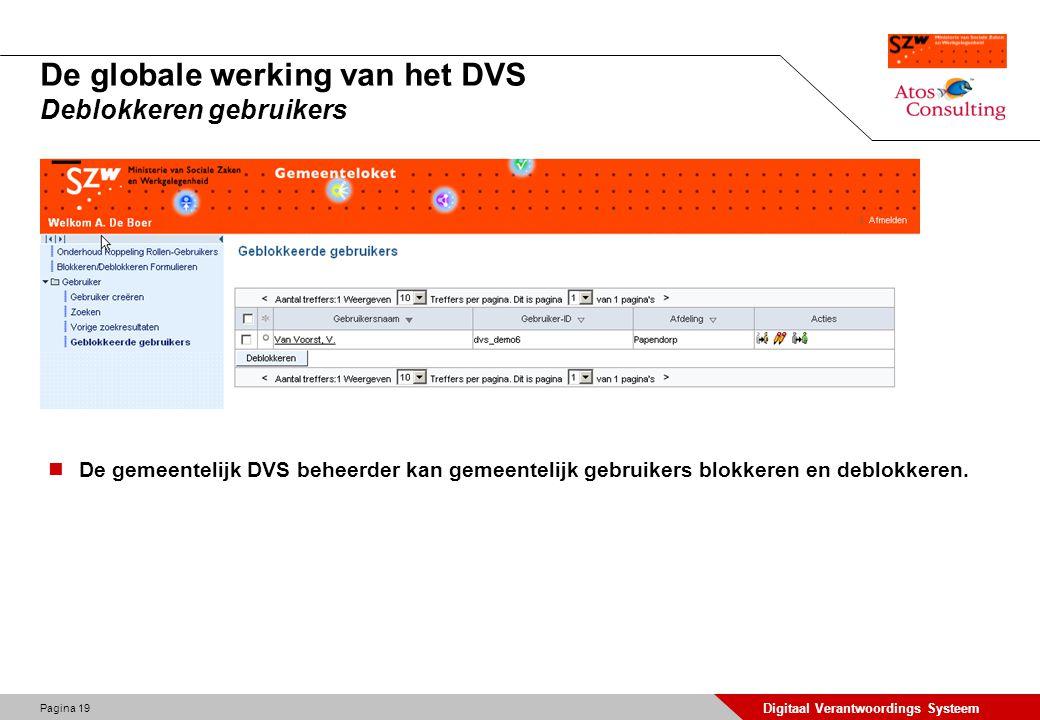 Pagina 20 Digitaal Verantwoordings Systeem De globale werking van het DVS Gebruikersgegevens aanpassen De gemeentelijk DVS beheerder kan de gebruikersgegevens aanpassen, gebruikers blokkeren, deblokkeren, verwijderen of het password resetten.