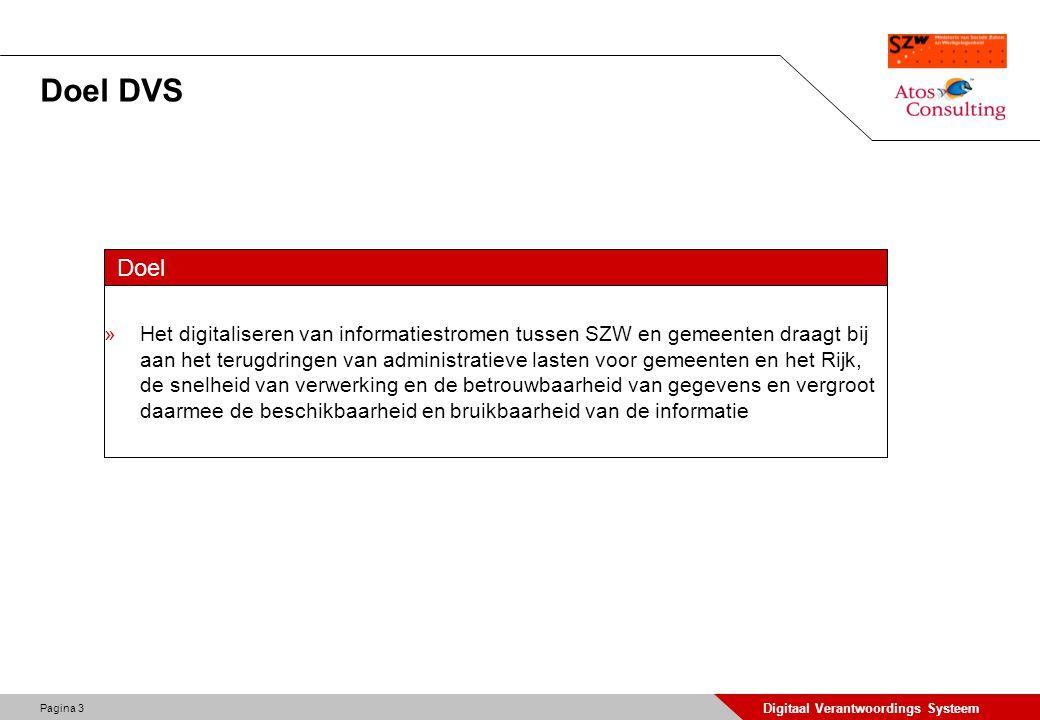 Pagina 3 Digitaal Verantwoordings Systeem Doel DVS Doel »Het digitaliseren van informatiestromen tussen SZW en gemeenten draagt bij aan het terugdring