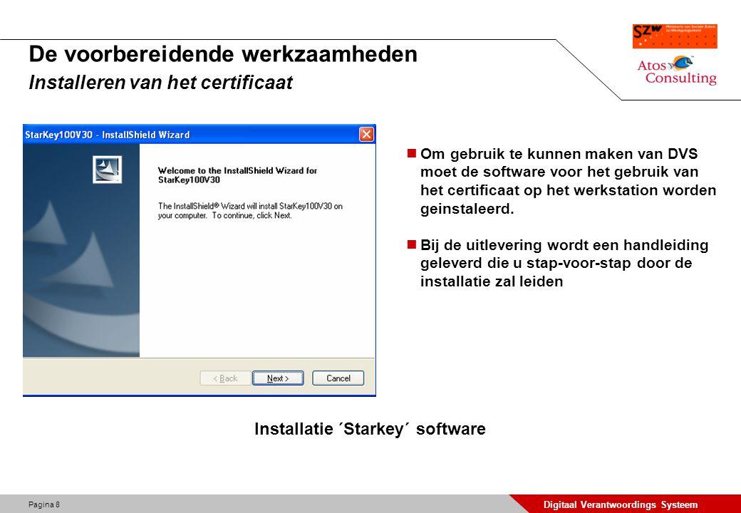 Pagina 9 Digitaal Verantwoordings Systeem De voorbereidende werkzaamheden Installeren van het certificaat Om gebruik te kunnen maken van DVS moet de software voor het gebruik van het certificaat op het werkstation worden geinstaleerd.