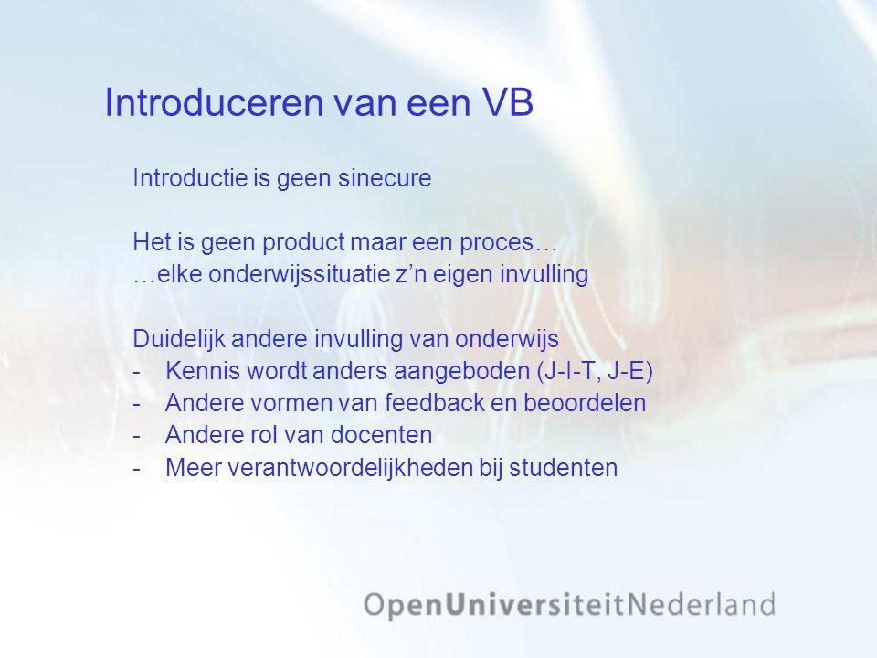 Introduceren van een VB Introductie is geen sinecure Het is geen product maar een proces… …elke onderwijssituatie z'n eigen invulling Duidelijk andere