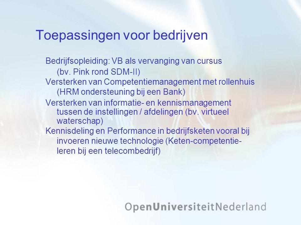 Toepassingen voor bedrijven Bedrijfsopleiding: VB als vervanging van cursus (bv. Pink rond SDM-II) Versterken van Competentiemanagement met rollenhuis