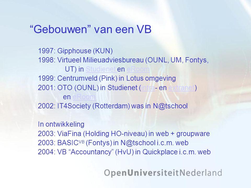 Gebouwen van een VB 1997: Gipphouse (KUN) 1998: Virtueel Milieuadviesbureau (OUNL, UM, Fontys, UT) in Studienet en eRoomStudienet eRoom 1999: Centrumveld (Pink) in Lotus omgeving 2001: OTO (OUNL) in Studienet (intra- en extranet)intraextranet en eRoomeRoom 2002: IT4Society (Rotterdam) was in N@tschool In ontwikkeling 2003: ViaFina (Holding HO-niveau) in web + groupware 2003: BASIC VB (Fontys) in N@tschool i.c.m.