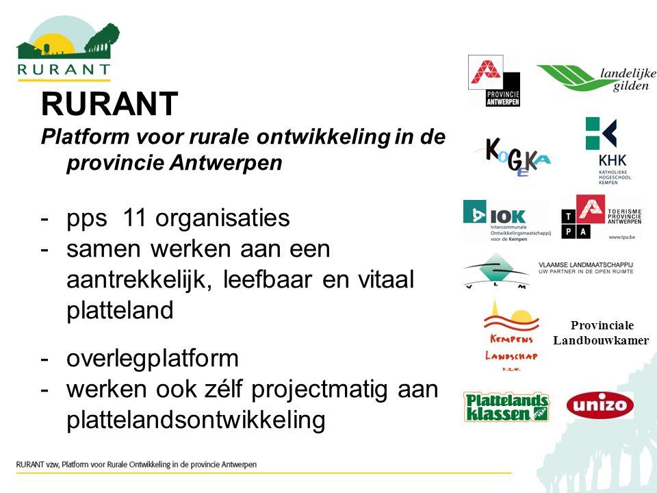 RURANT Platform voor rurale ontwikkeling in de provincie Antwerpen -pps 11 organisaties -samen werken aan een aantrekkelijk, leefbaar en vitaal platteland -overlegplatform -werken ook zélf projectmatig aan plattelandsontwikkeling Provinciale Landbouwkamer