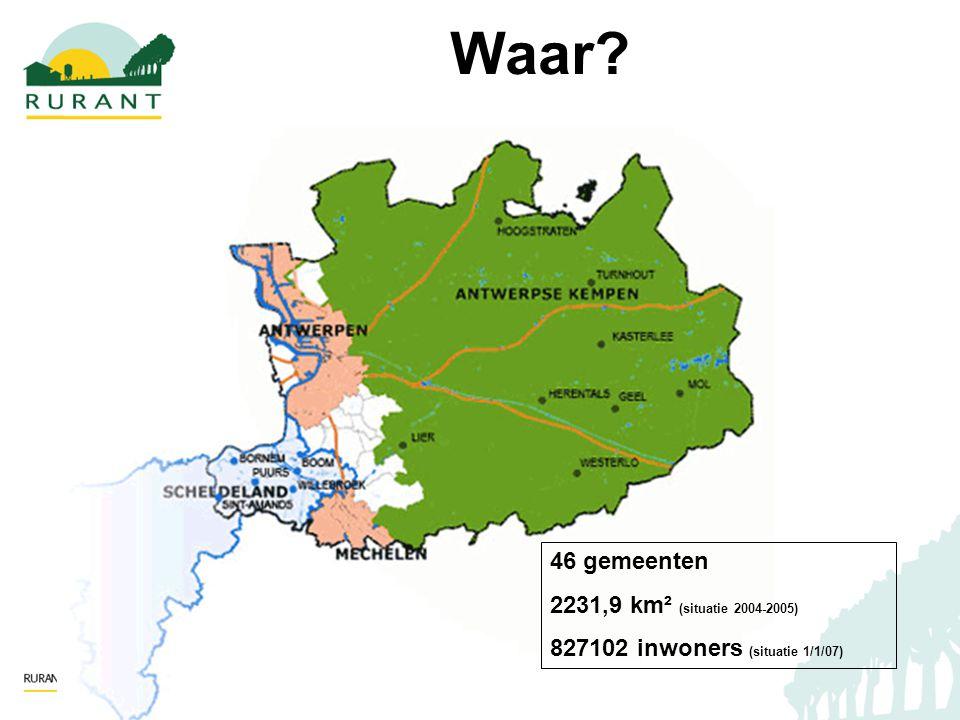 46 gemeenten 2231,9 km² (situatie 2004-2005) 827102 inwoners (situatie 1/1/07) Waar