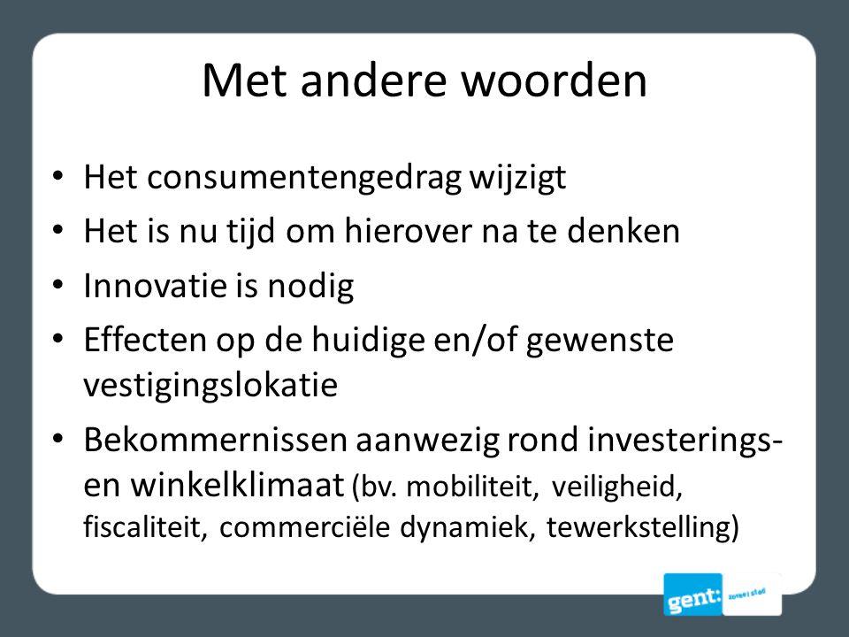 Consumentengedrag (plaats) De Belgische consument winkelt in het centrum waar hij woont of werkt in shoppingcenters aan rand van/buiten de stad koopt online in baanwinkels (rangschikking naar belangrijkheid)