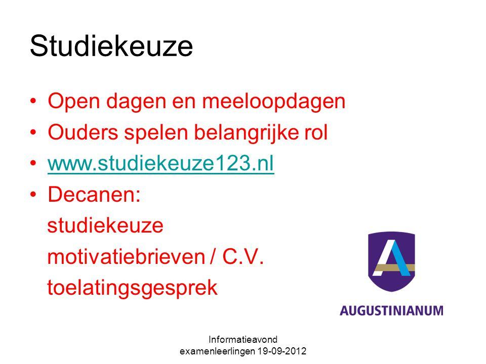 Studiekeuze Open dagen en meeloopdagen Ouders spelen belangrijke rol www.studiekeuze123.nl Decanen: studiekeuze motivatiebrieven / C.V. toelatingsgesp