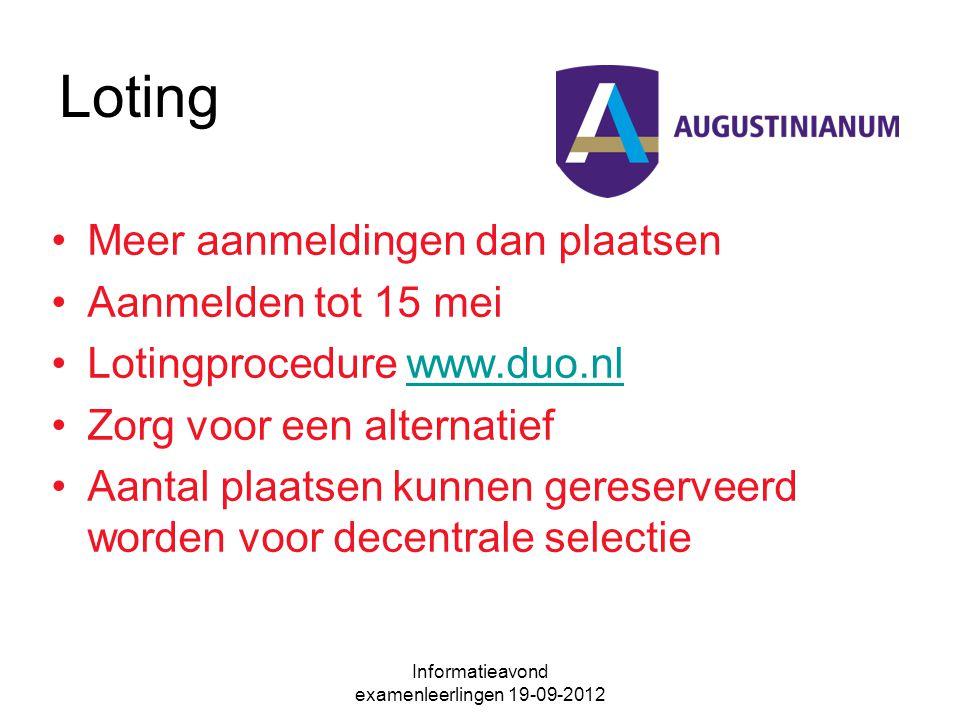 Loting Meer aanmeldingen dan plaatsen Aanmelden tot 15 mei Lotingprocedure www.duo.nlwww.duo.nl Zorg voor een alternatief Aantal plaatsen kunnen gereserveerd worden voor decentrale selectie