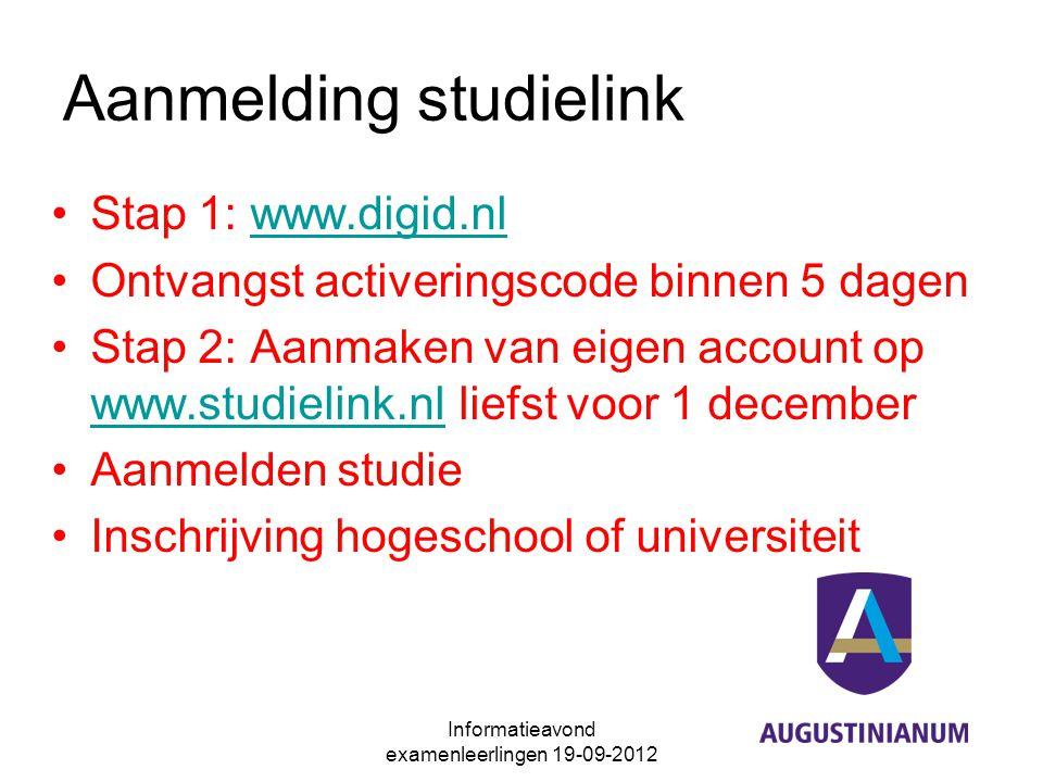 Aanmelding studielink Stap 1: www.digid.nlwww.digid.nl Ontvangst activeringscode binnen 5 dagen Stap 2: Aanmaken van eigen account op www.studielink.n