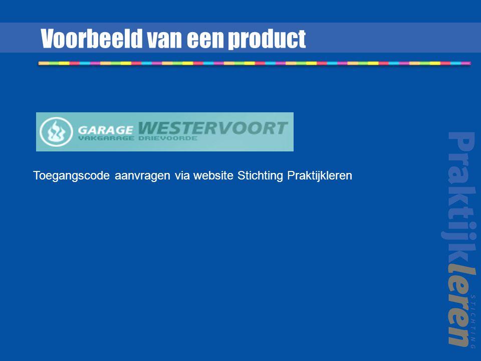 Toegangscode aanvragen via website Stichting Praktijkleren Voorbeeld van een product