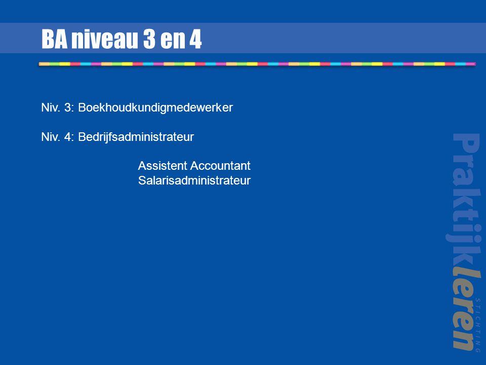 Niv. 3: Boekhoudkundigmedewerker Niv. 4: Bedrijfsadministrateur Assistent Accountant Salarisadministrateur BA niveau 3 en 4