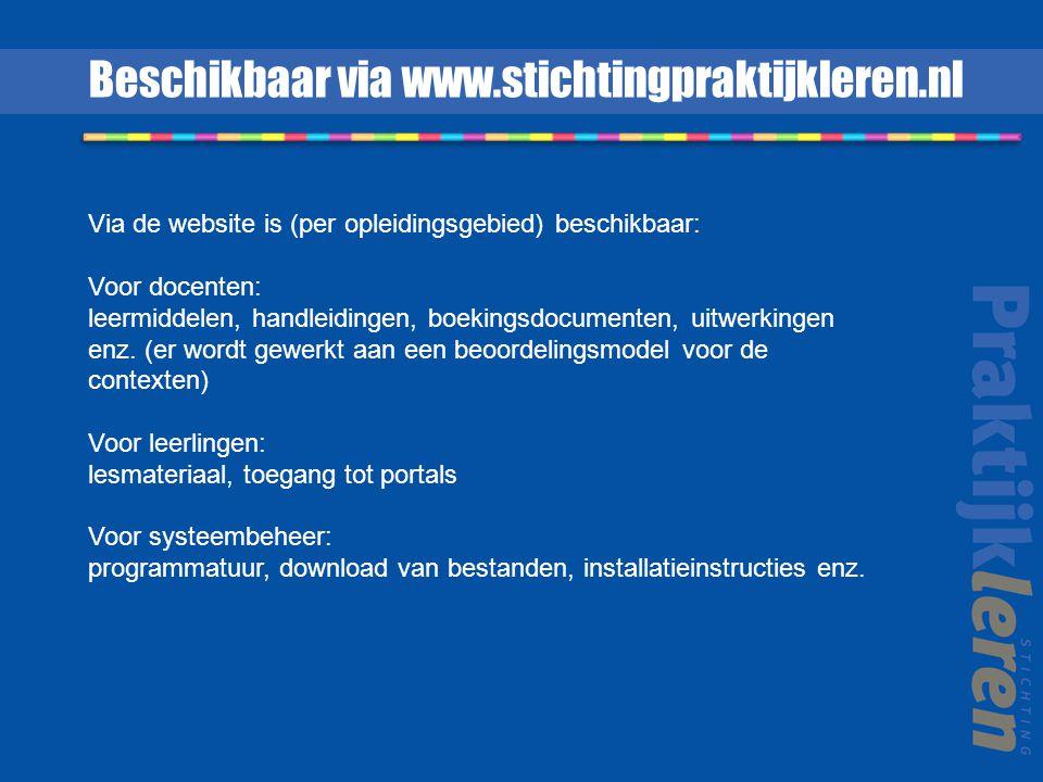 Beschikbaar via www.stichtingpraktijkleren.nl Via de website is (per opleidingsgebied) beschikbaar: Voor docenten: leermiddelen, handleidingen, boekin