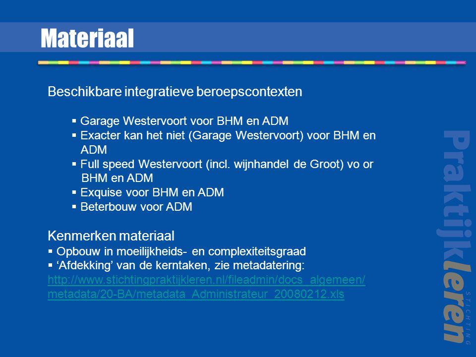Materiaal Beschikbare integratieve beroepscontexten  Garage Westervoort voor BHM en ADM  Exacter kan het niet (Garage Westervoort) voor BHM en ADM  Full speed Westervoort (incl.
