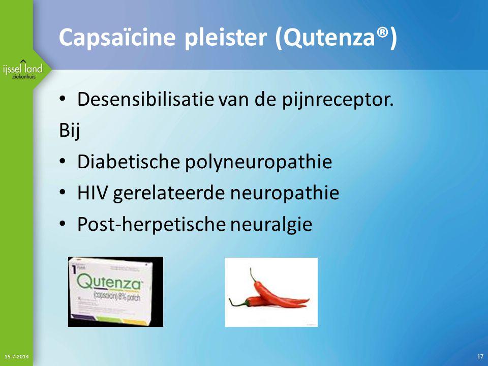 Capsaïcine pleister (Qutenza®) Desensibilisatie van de pijnreceptor.