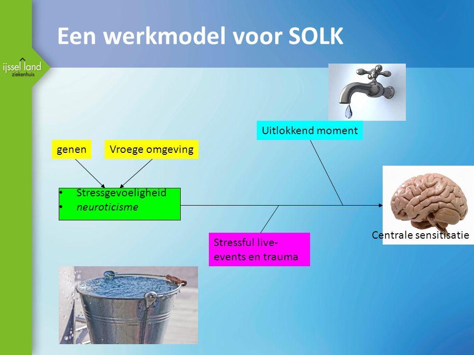 Een werkmodel voor SOLK Stressgevoeligheid neuroticisme genenVroege omgeving Stressful live- events en trauma Uitlokkend moment Centrale sensitisatie