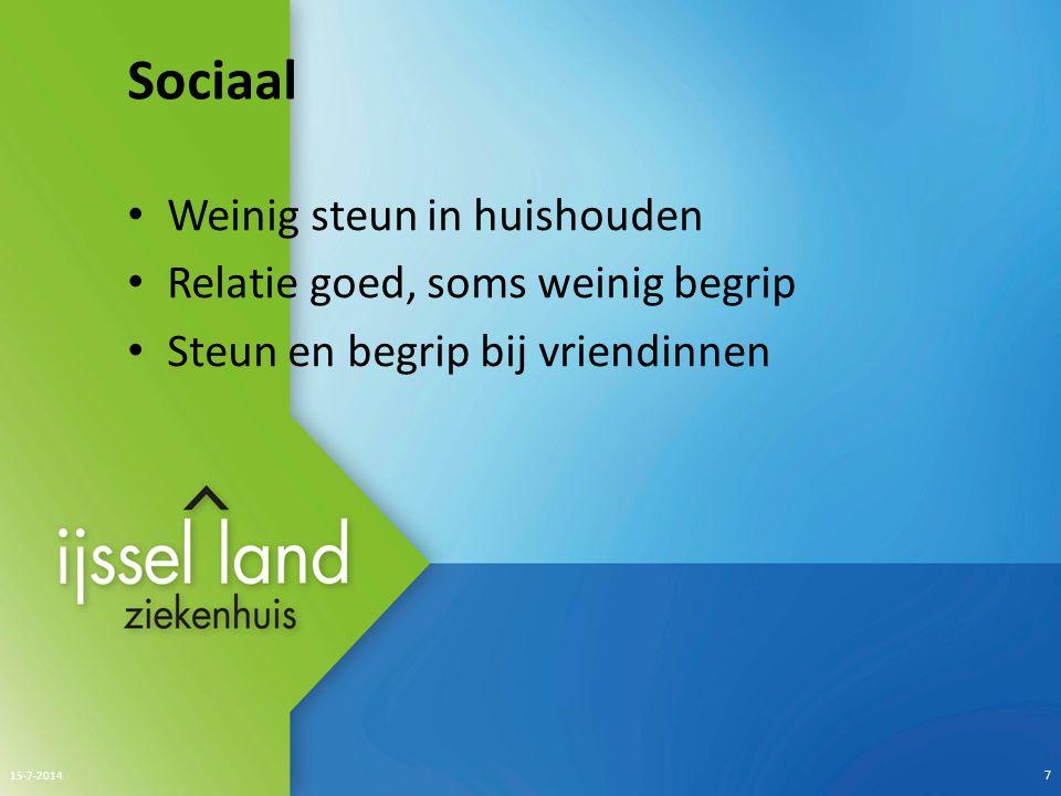 Sociaal Weinig steun in huishouden Relatie goed, soms weinig begrip Steun en begrip bij vriendinnen 15-7-2014 7
