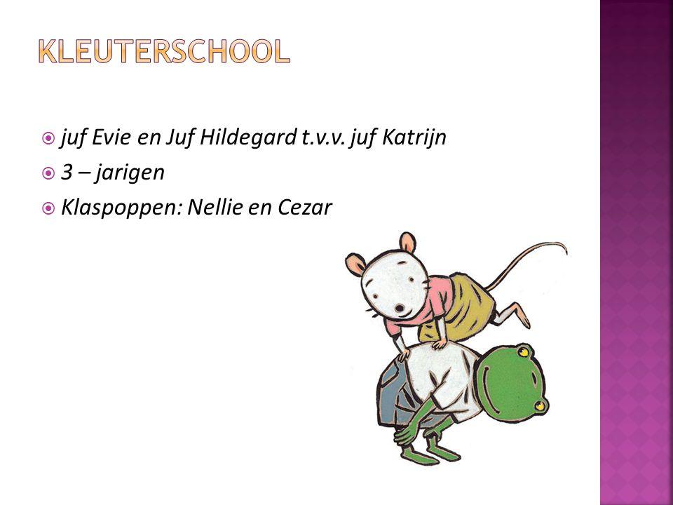  juf Evie en Juf Hildegard t.v.v. juf Katrijn  3 – jarigen  Klaspoppen: Nellie en Cezar