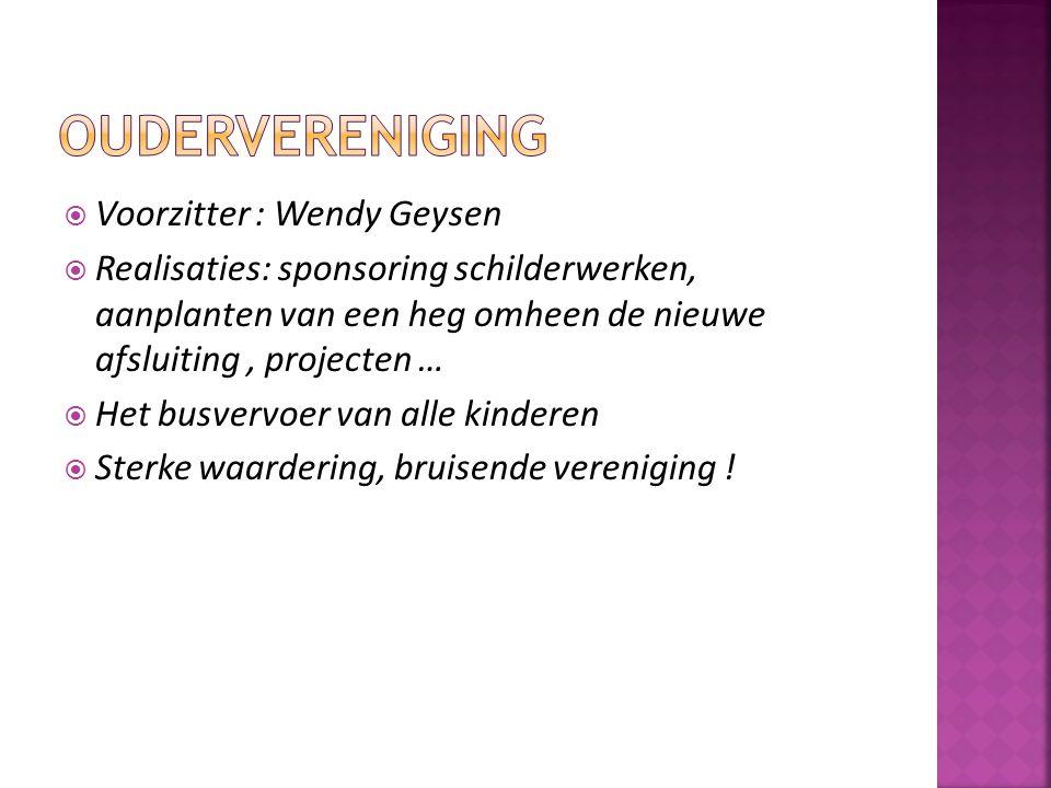  Voorzitter : Wendy Geysen  Realisaties: sponsoring schilderwerken, aanplanten van een heg omheen de nieuwe afsluiting, projecten …  Het busvervoer