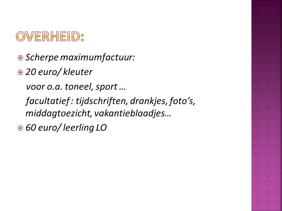  Scherpe maximumfactuur:  20 euro/ kleuter voor o.a. toneel, sport … facultatief : tijdschriften, drankjes, foto's, middagtoezicht, vakantieblaadjes
