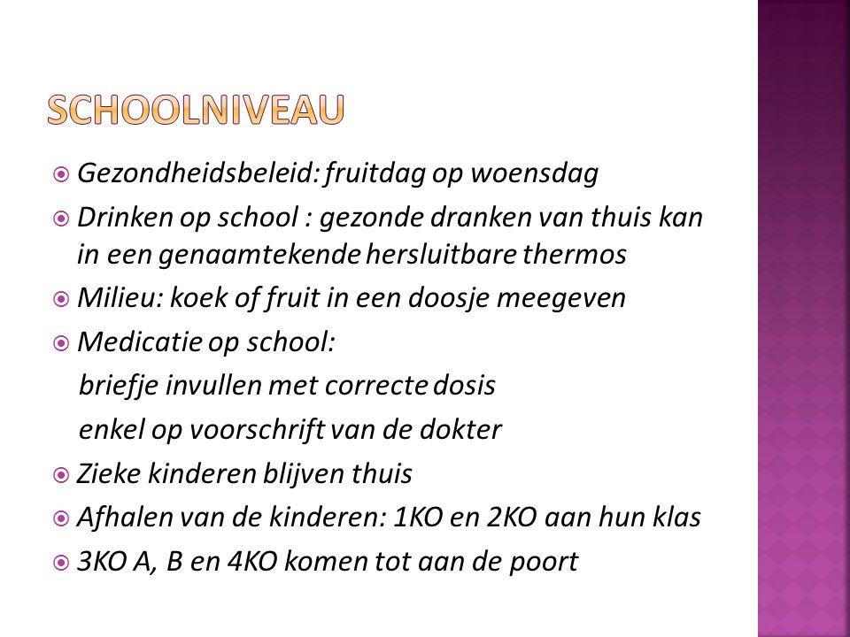 Gezondheidsbeleid: fruitdag op woensdag  Drinken op school : gezonde dranken van thuis kan in een genaamtekende hersluitbare thermos  Milieu: koek