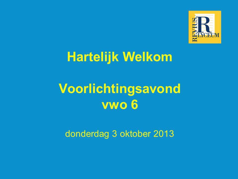 Hartelijk Welkom Voorlichtingsavond vwo 6 donderdag 3 oktober 2013