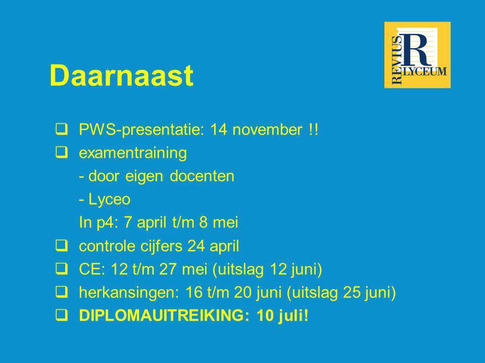 Daarnaast  PWS-presentatie: 14 november !!  examentraining - door eigen docenten - Lyceo In p4: 7 april t/m 8 mei  controle cijfers 24 april  CE: