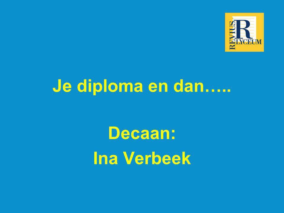 Je diploma en dan….. Decaan: Ina Verbeek
