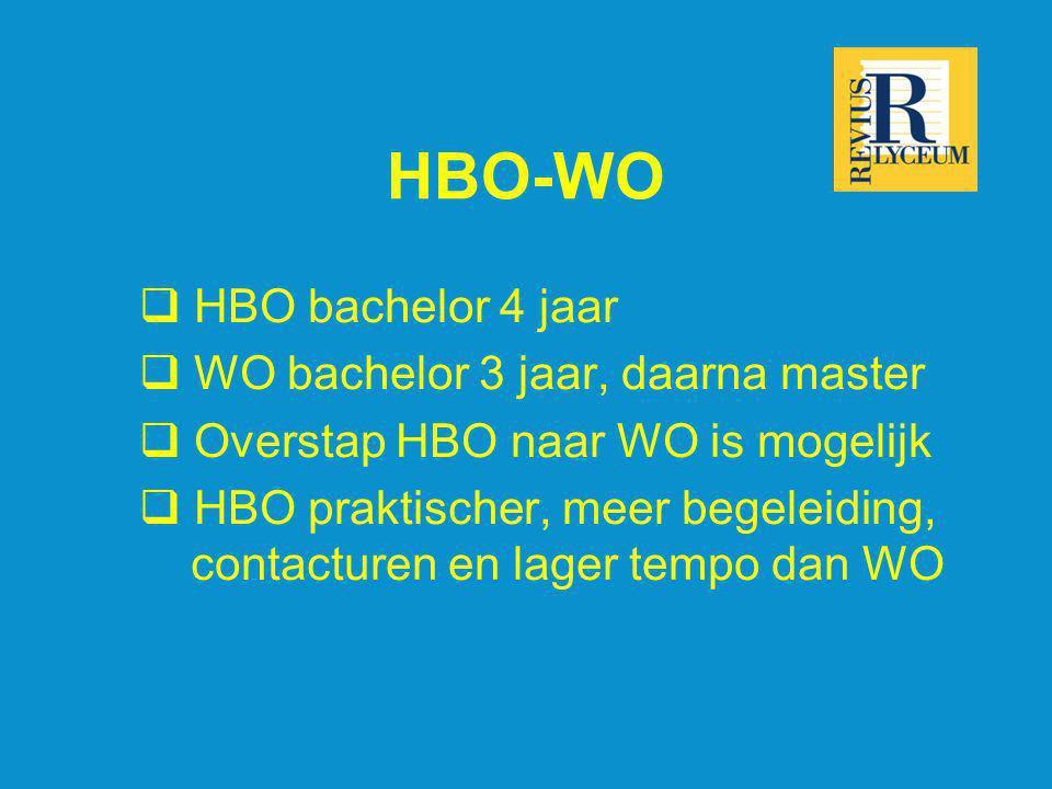 HBO-WO  HBO bachelor 4 jaar  WO bachelor 3 jaar, daarna master  Overstap HBO naar WO is mogelijk  HBO praktischer, meer begeleiding, contacturen e