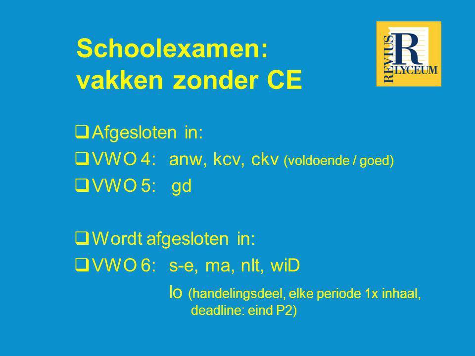 Schoolexamen: vakken zonder CE  Afgesloten in:  VWO 4:anw, kcv, ckv (voldoende / goed)  VWO 5: gd  Wordt afgesloten in:  VWO 6: s-e, ma, nlt, wiD