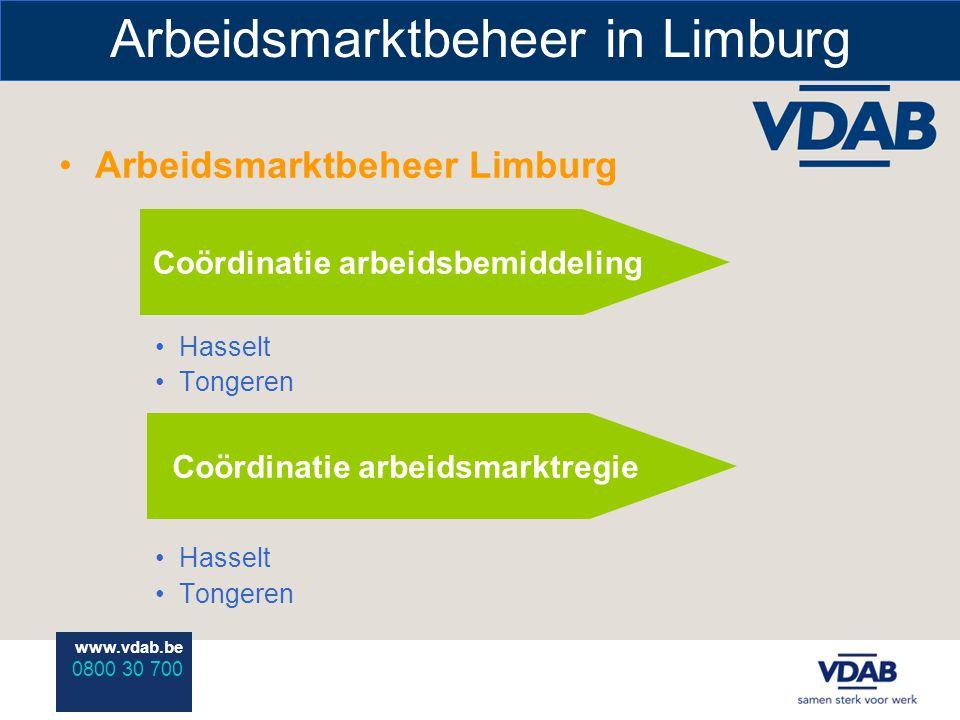 www.vdab.be 0800 30 700 Arbeidsmarktbeheer in Limburg Arbeidsmarktbeheer Limburg Hasselt Tongeren Hasselt Tongeren Coördinatie arbeidsbemiddeling Coördinatie arbeidsmarktregie