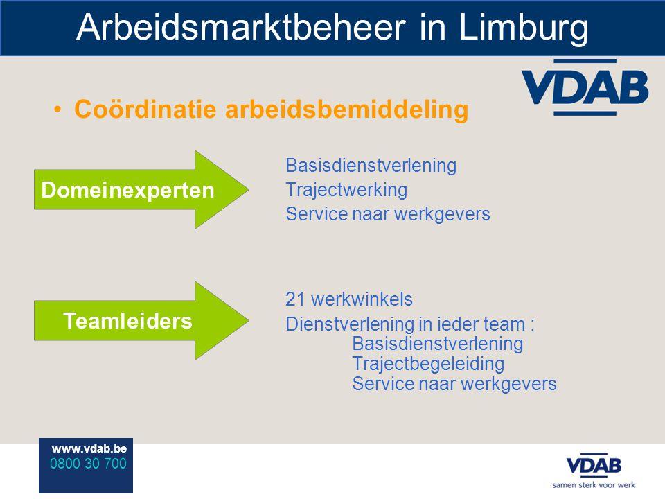 www.vdab.be 0800 30 700 Arbeidsmarktbeheer in Limburg Coördinatie arbeidsbemiddeling Basisdienstverlening Trajectwerking Service naar werkgevers 21 werkwinkels Dienstverlening in ieder team : Basisdienstverlening Trajectbegeleiding Service naar werkgevers Domeinexperten Teamleiders