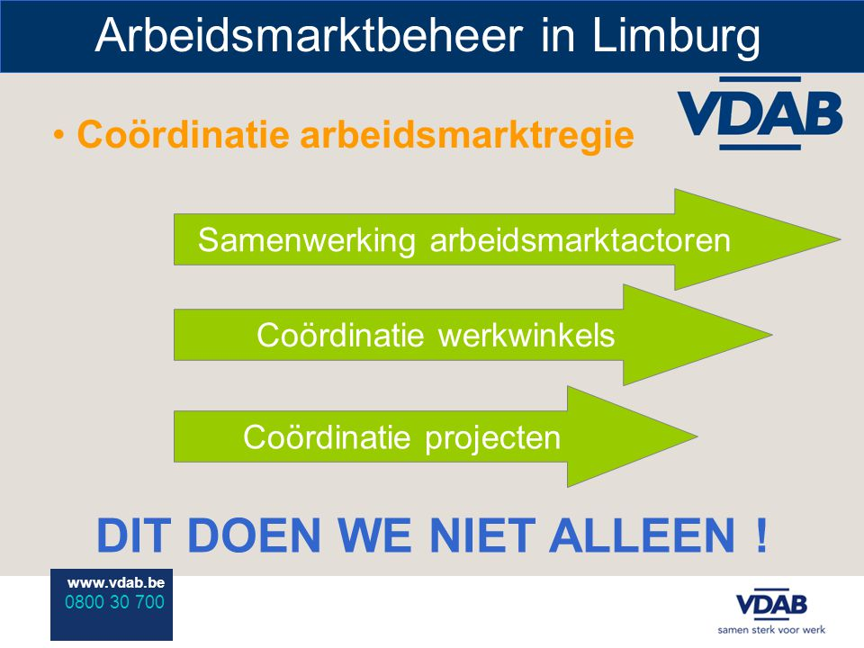 www.vdab.be 0800 30 700 Arbeidsmarktbeheer in Limburg Coördinatie arbeidsmarktregie DIT DOEN WE NIET ALLEEN ! Samenwerking arbeidsmarktactoren Coördin