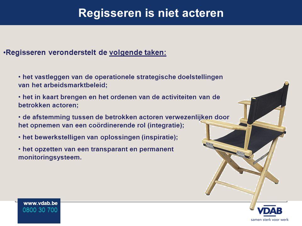 www.vdab.be 0800 30 700 Regisseren is niet acteren www.vdab.be 0800 30 700 Regisseren veronderstelt de volgende taken: het vastleggen van de operationele strategische doelstellingen van het arbeidsmarktbeleid; het in kaart brengen en het ordenen van de activiteiten van de betrokken actoren; de afstemming tussen de betrokken actoren verwezenlijken door het opnemen van een coördinerende rol (integratie); het bewerkstelligen van oplossingen (inspiratie); het opzetten van een transparant en permanent monitoringsysteem.